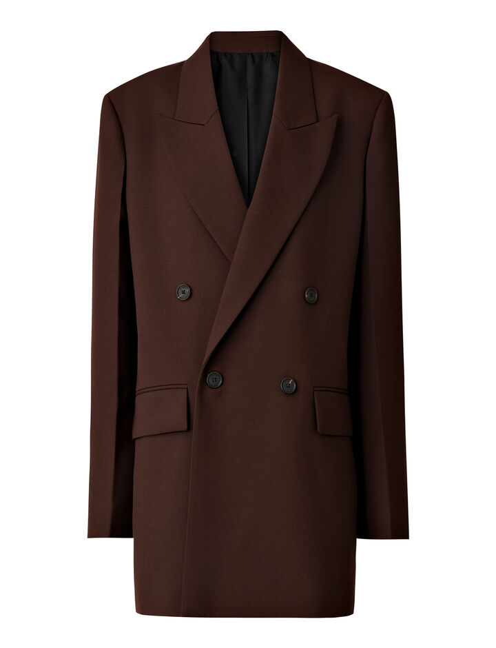 Joseph, Morgan Wool Granite Jacket, in MAHOGANY