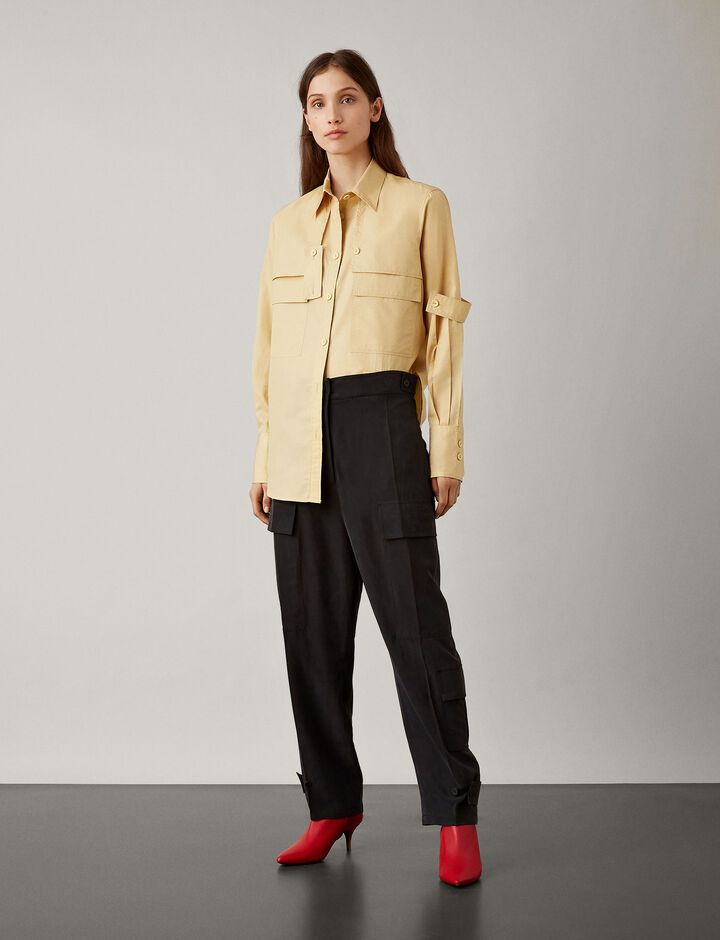 Joseph, Ronni Fuji Silk Trousers, in BLACK