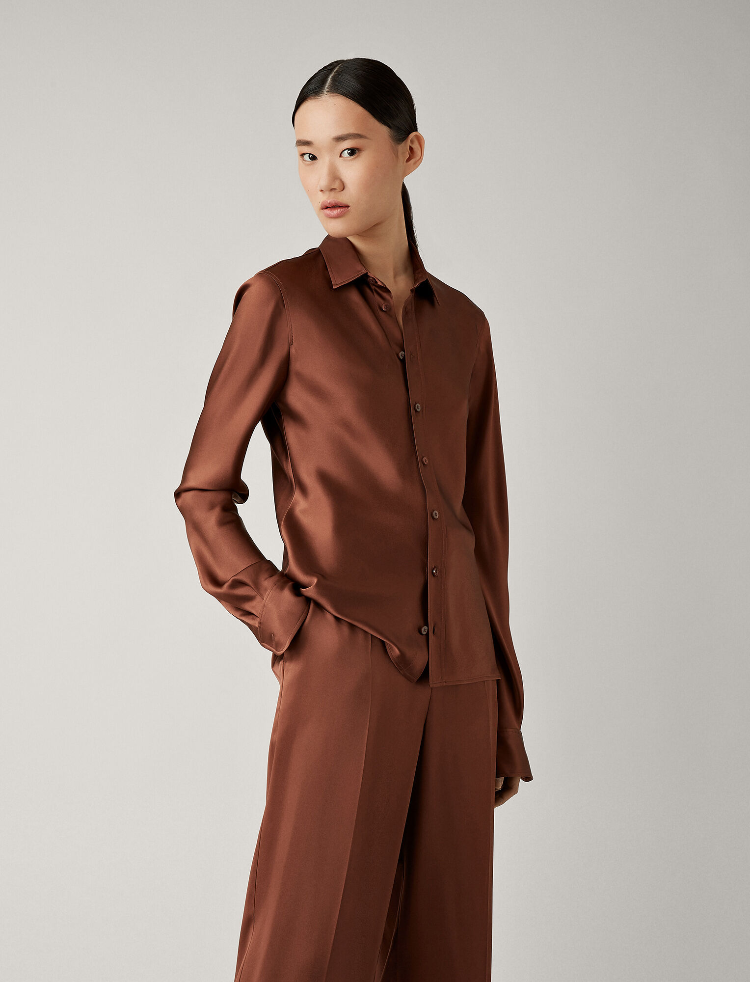 Joseph, George Silk Satin Blouse, in RAISIN