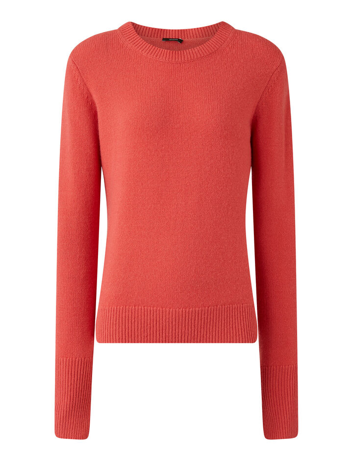 Joseph, Rd Nk Ls Pure Cashmere Knitwear, in Peony
