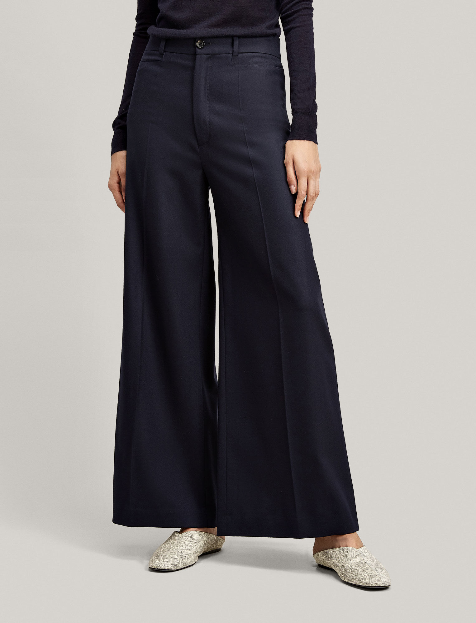 Joseph, Pantalon Dana en flanelle stretch, in NAVY
