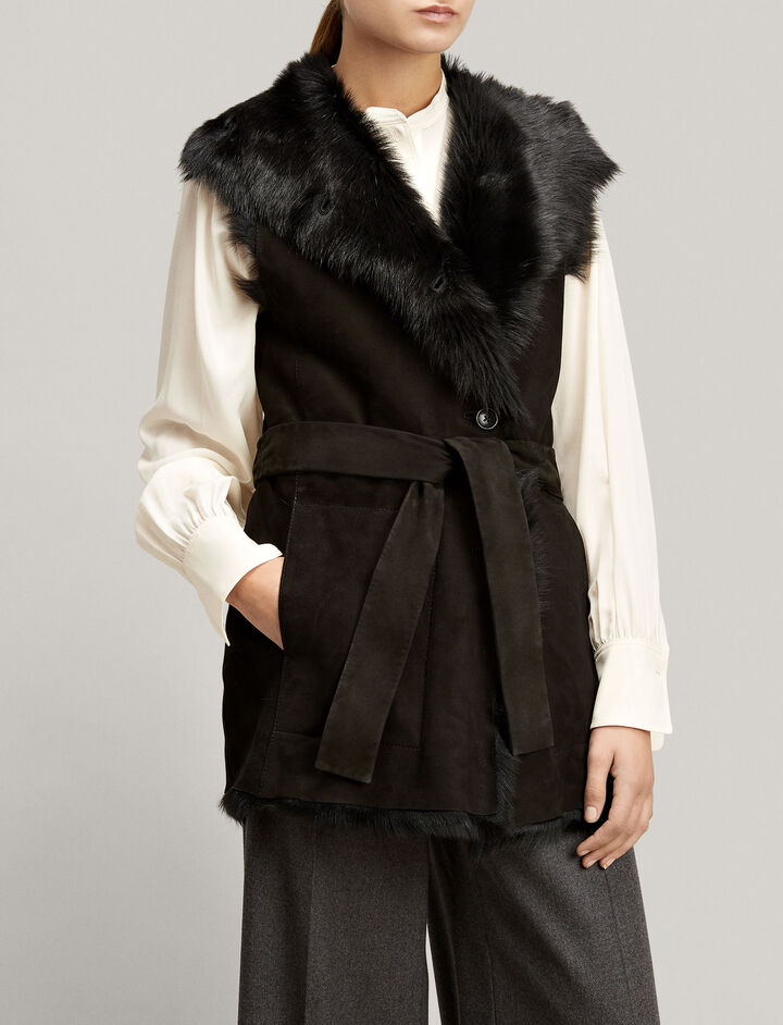 Joseph, Long Hair Toscana Lima Gilet, in BLACK