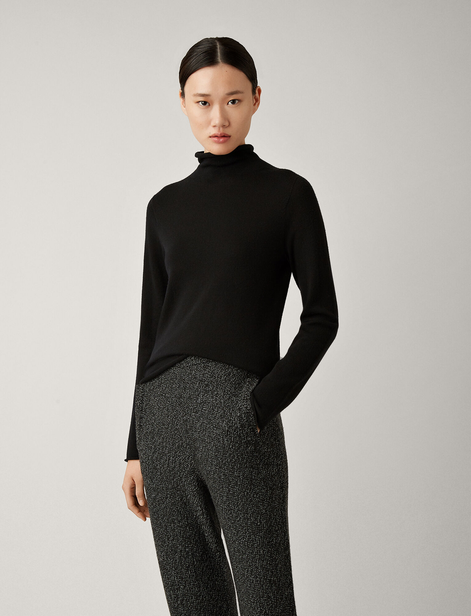 Joseph, High Neck Seamless Knit, in BLACK