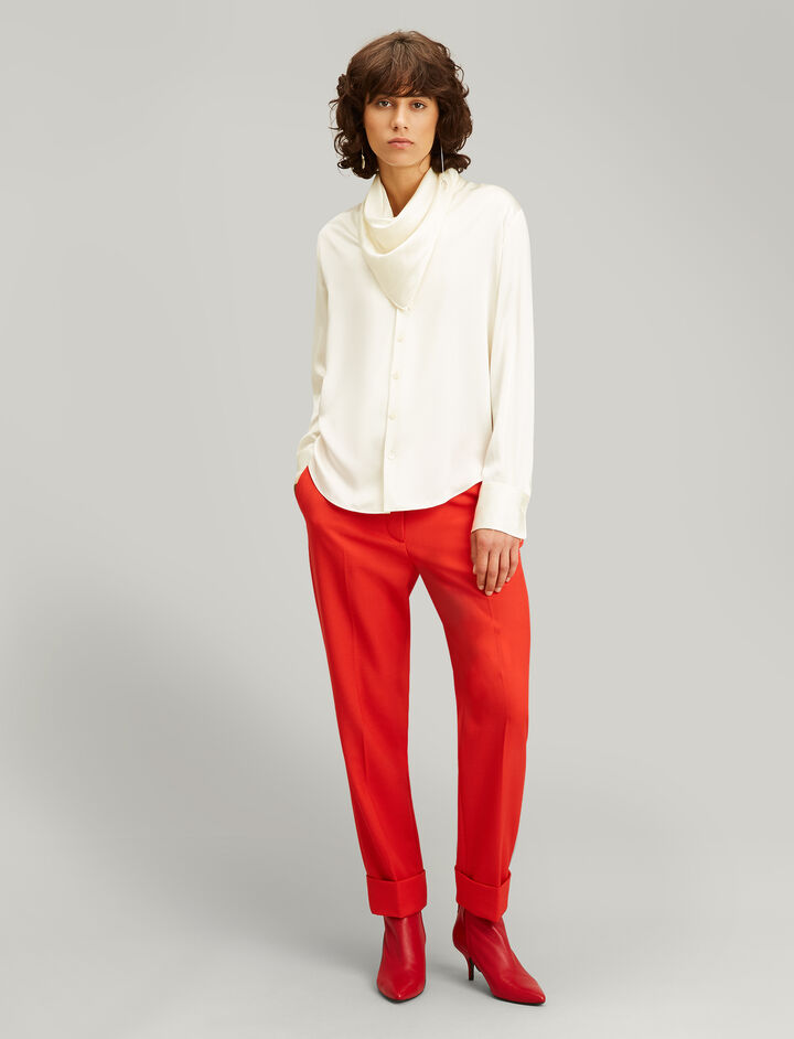 Joseph, Rand Silk Satin Blouse, in ECRU