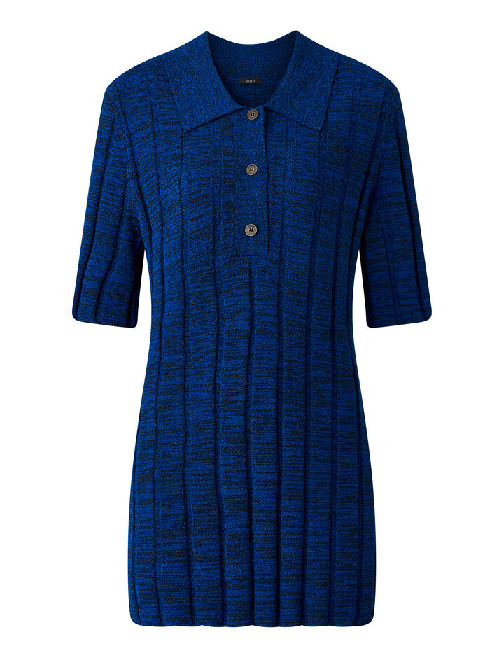 Joseph, Textured Rib Polo Top, in COBALT BLUE