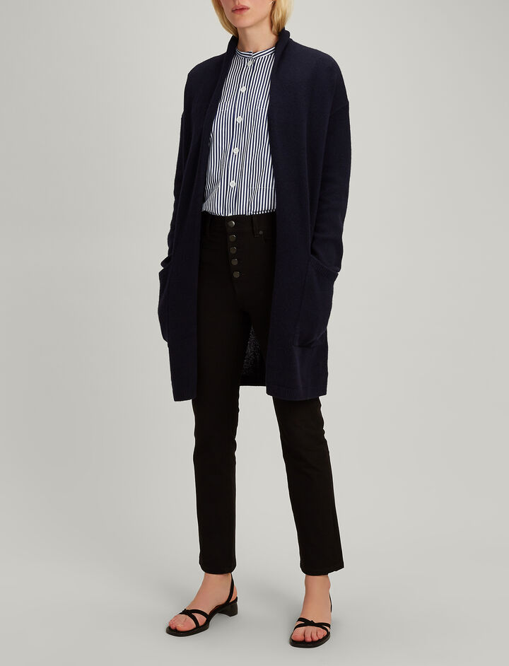 Joseph, Open Cashmere Long Cardigan, in NAVY