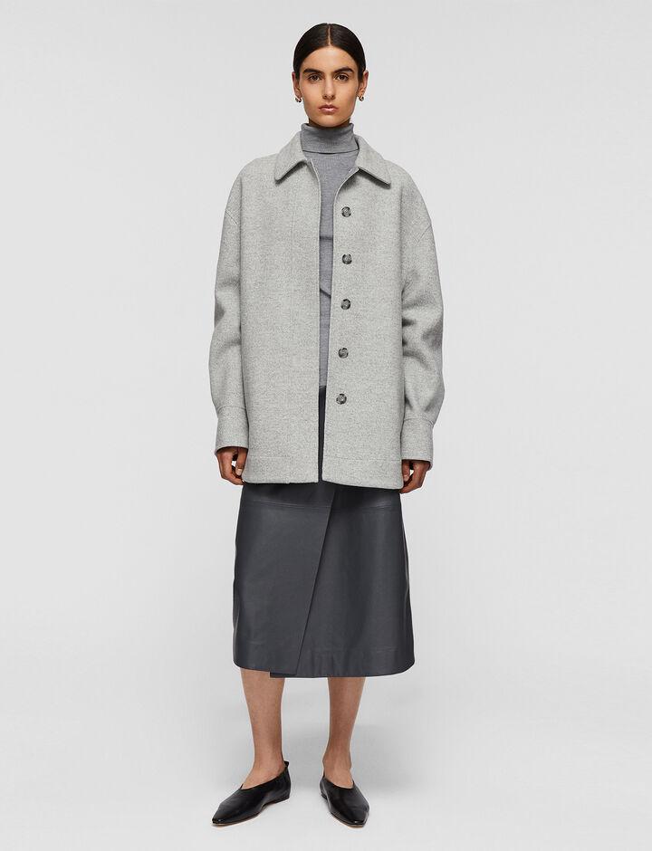 Joseph, Compact Coating Jade Coat, in Dove Grey Combo