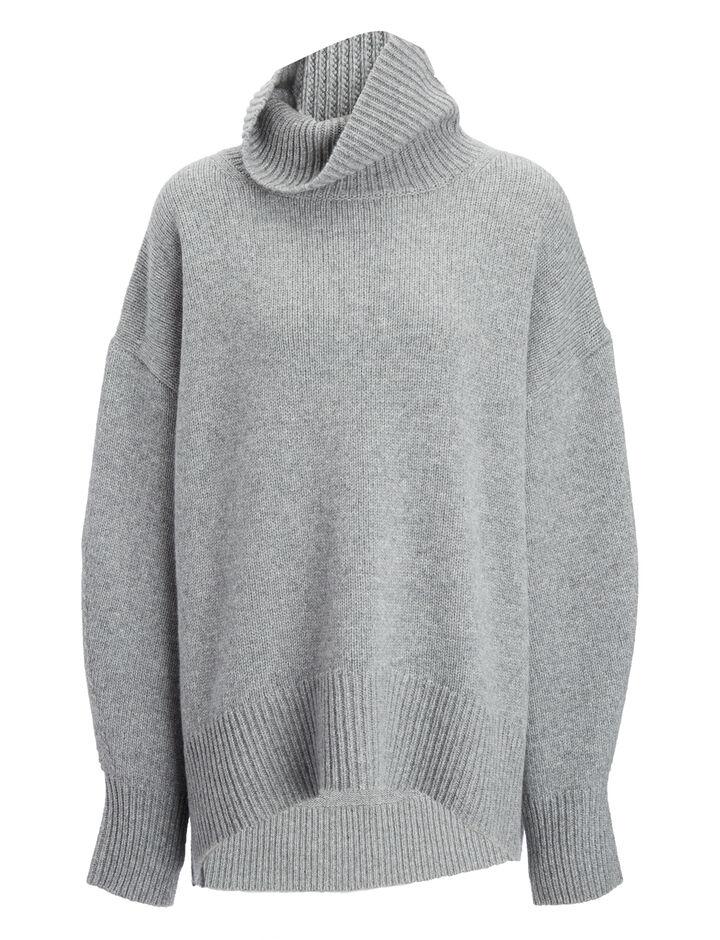 Joseph, Cashmere Luxe High Neck Sweater, in CONCRETE