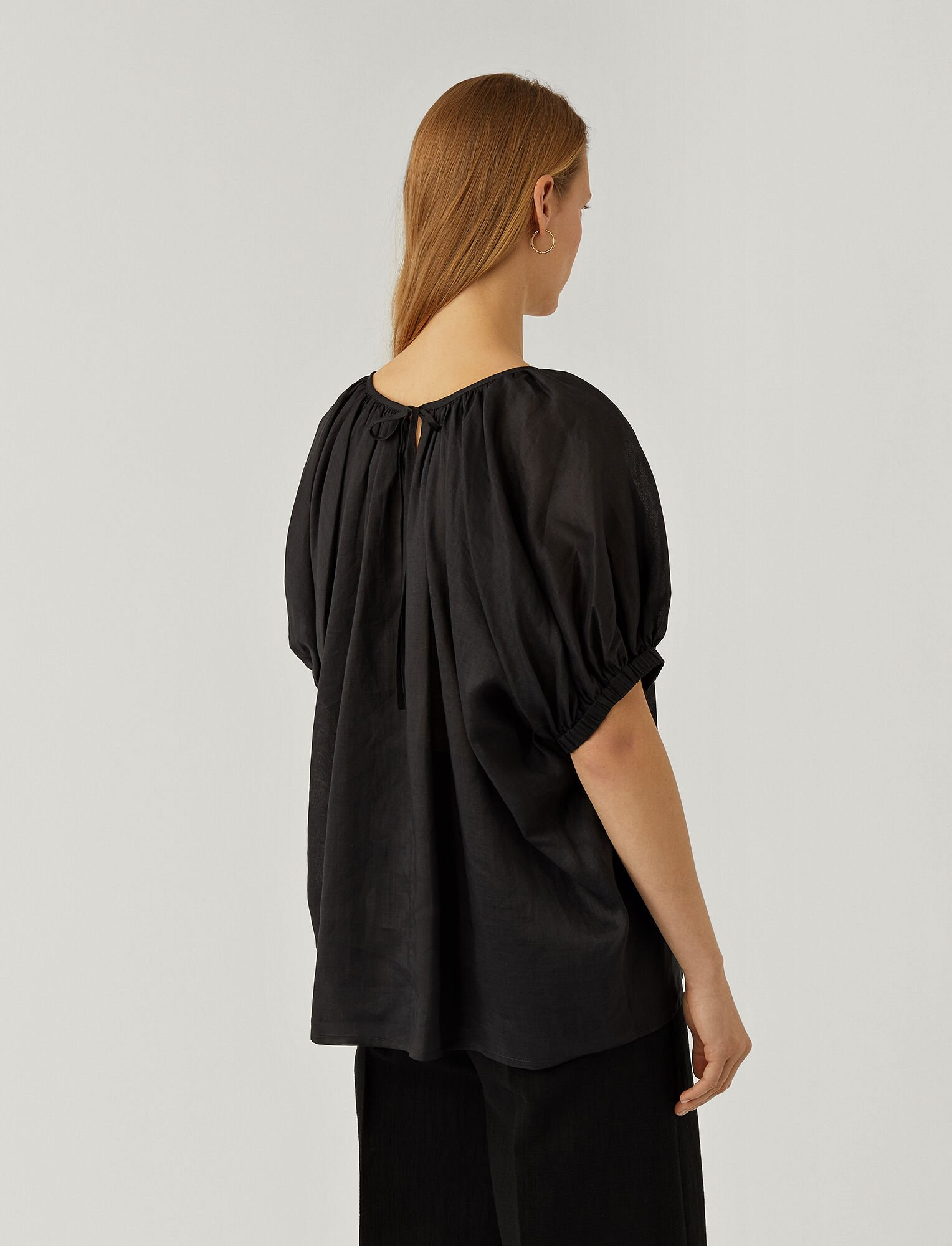 Joseph, Ramie Voile Baidy Blouse, in BLACK