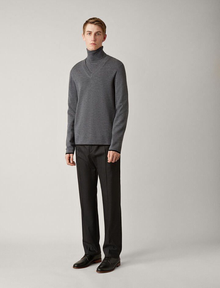 Joseph, V Neck Fine Milano Knit, in CHARCOAL