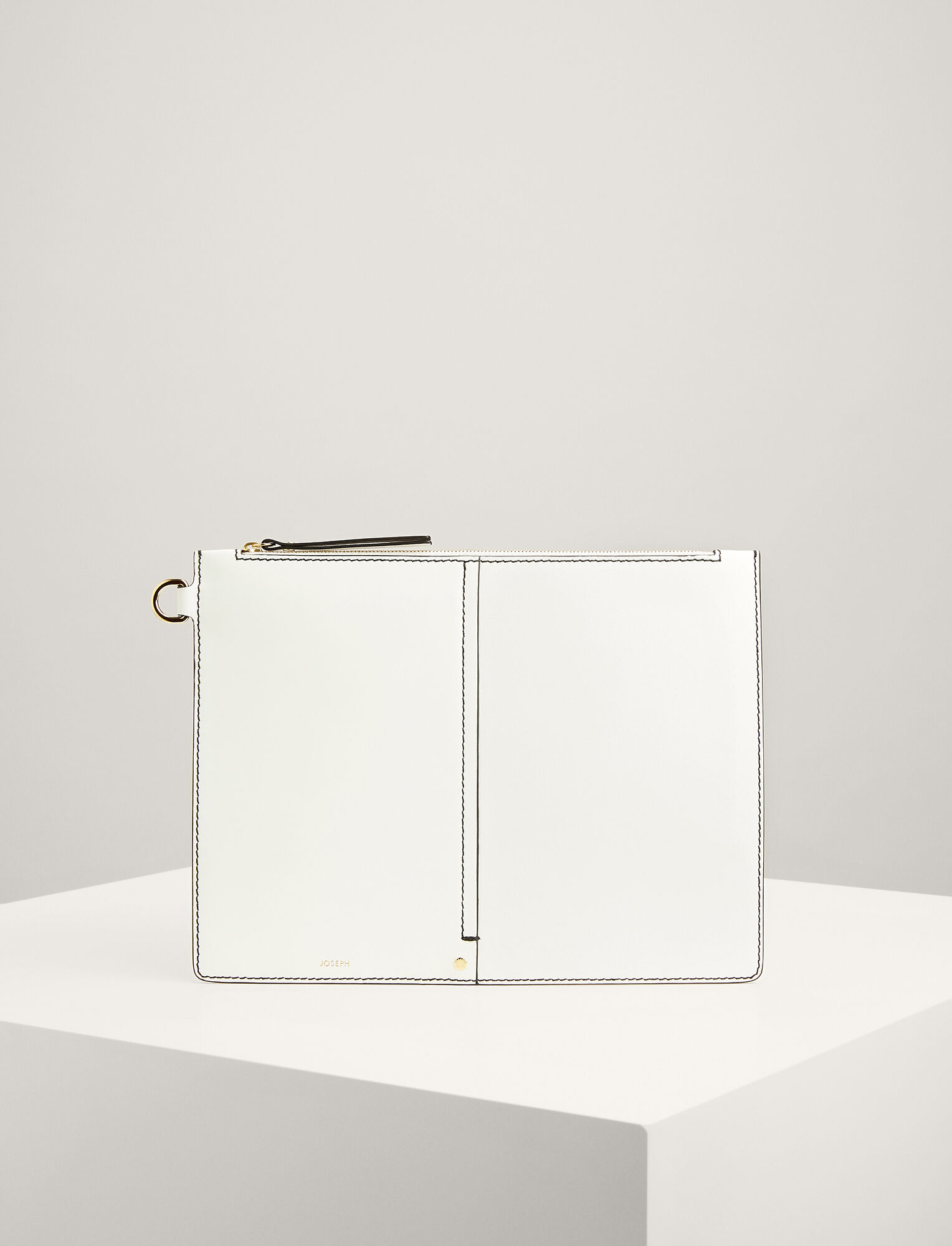 Joseph, Calf Leather XL Pouch, in WHITE
