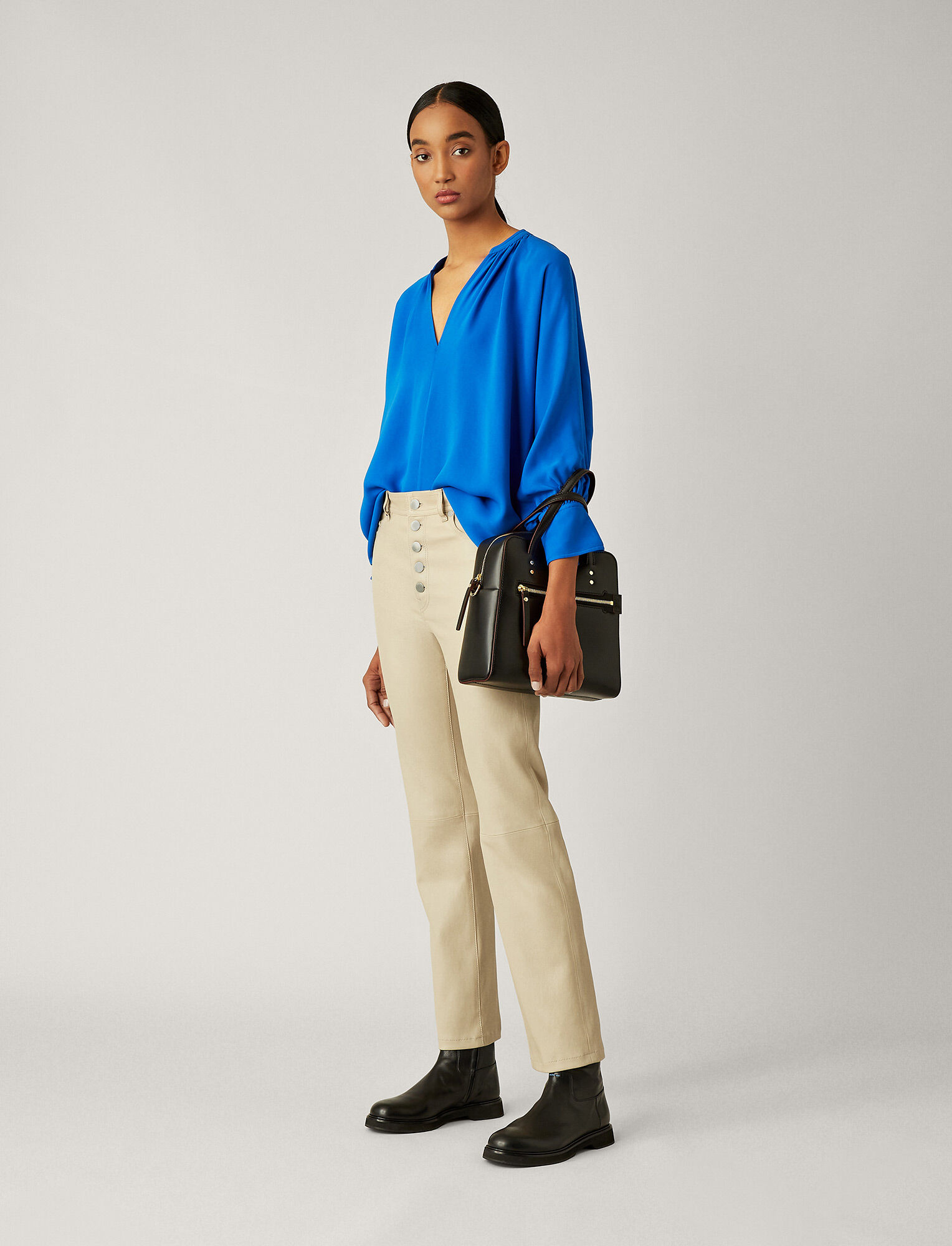 Joseph, Den Stretch Leather Trousers, in COFFEE