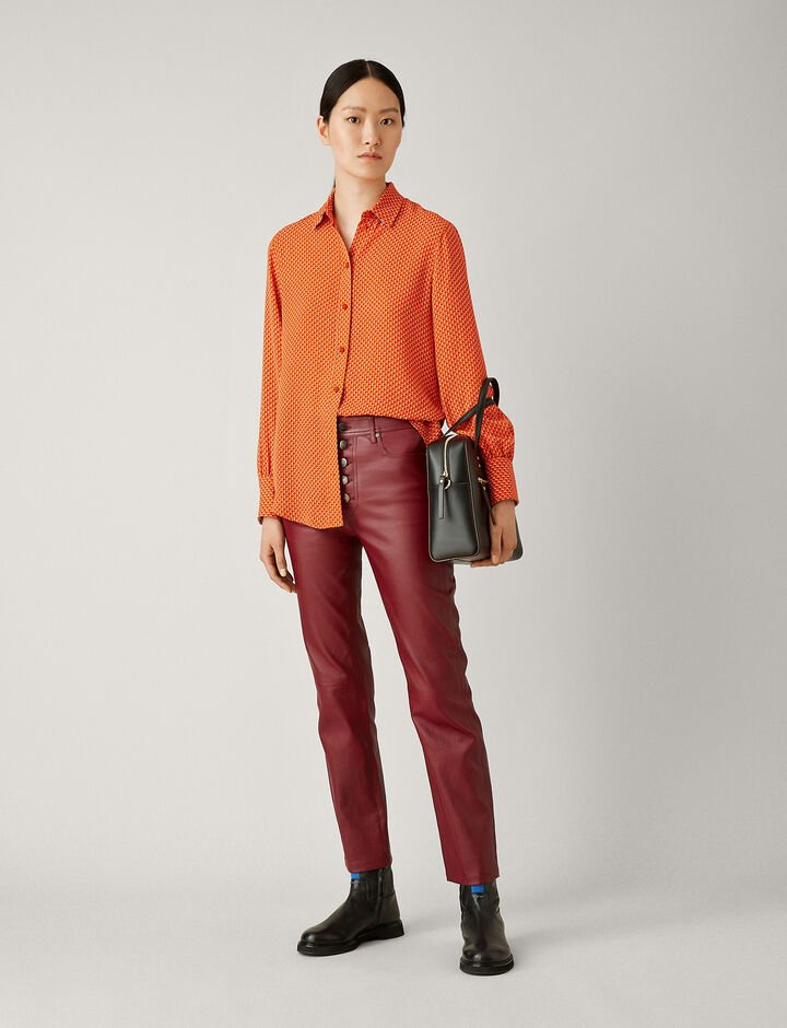 Joseph, Den Stretch Leather Trousers, in GARNET