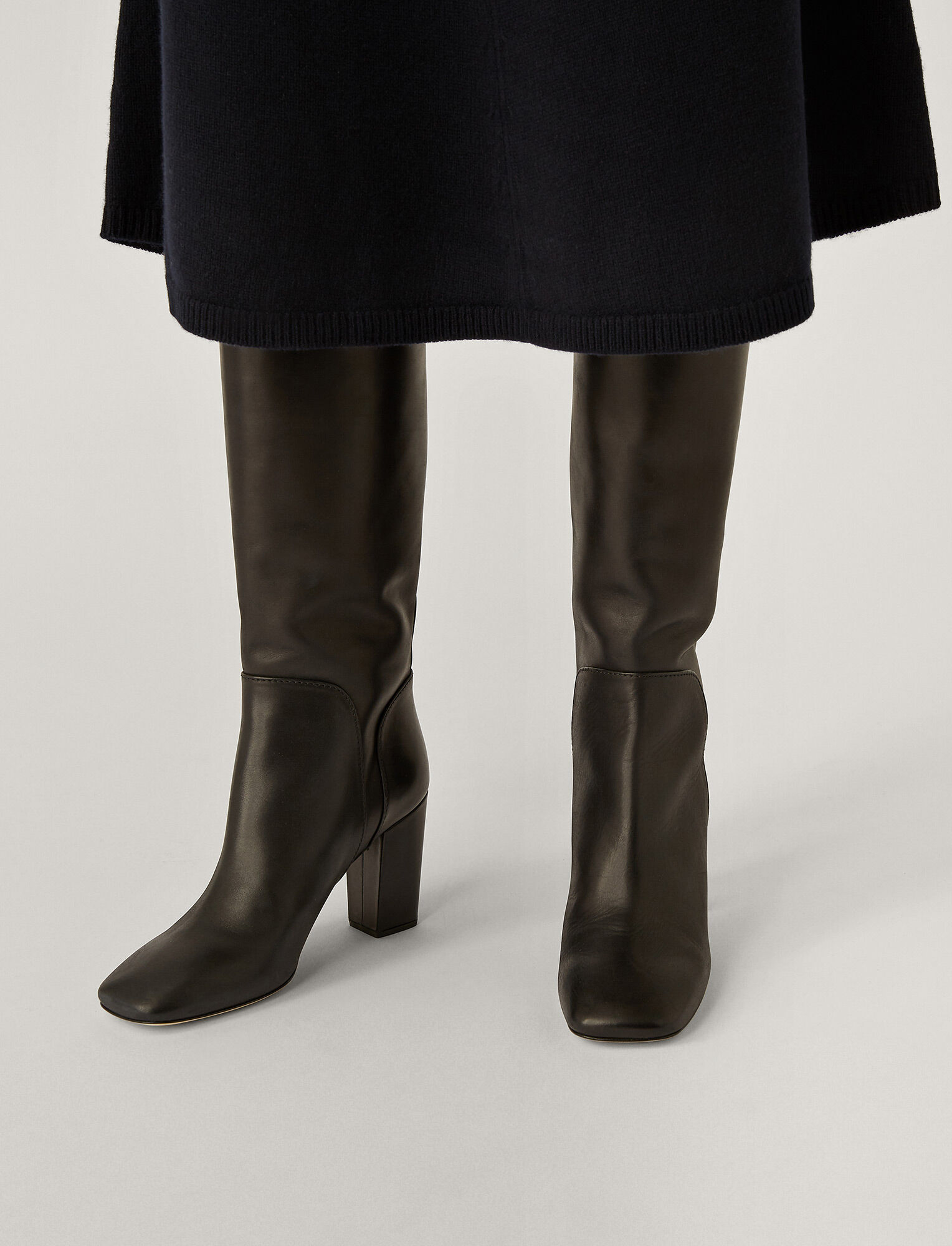 Joseph, Square Heel Long Boots, in Black
