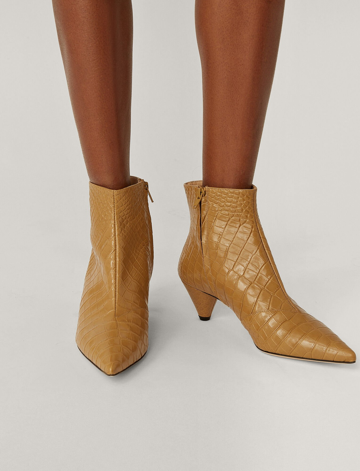 Joseph, Cone Heel Ankle Boot, in Dijon