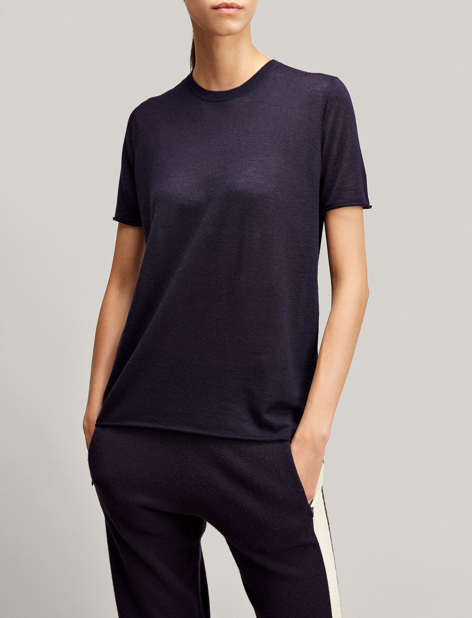 Joseph, Cashair Knit Tee, in NAVY