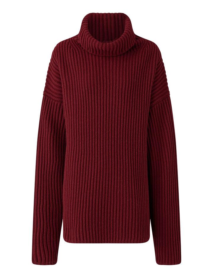 Joseph, High Nk Cardigan Stitch Knitwear, in Plum