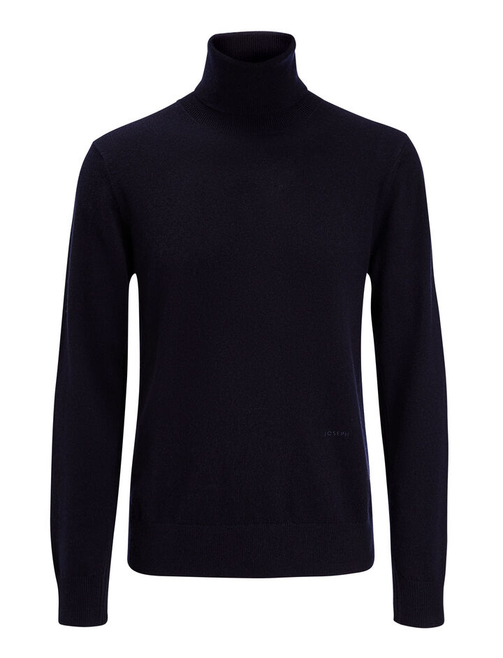 Joseph, High Neck Mongolian Cashmere Knit, in NAVY