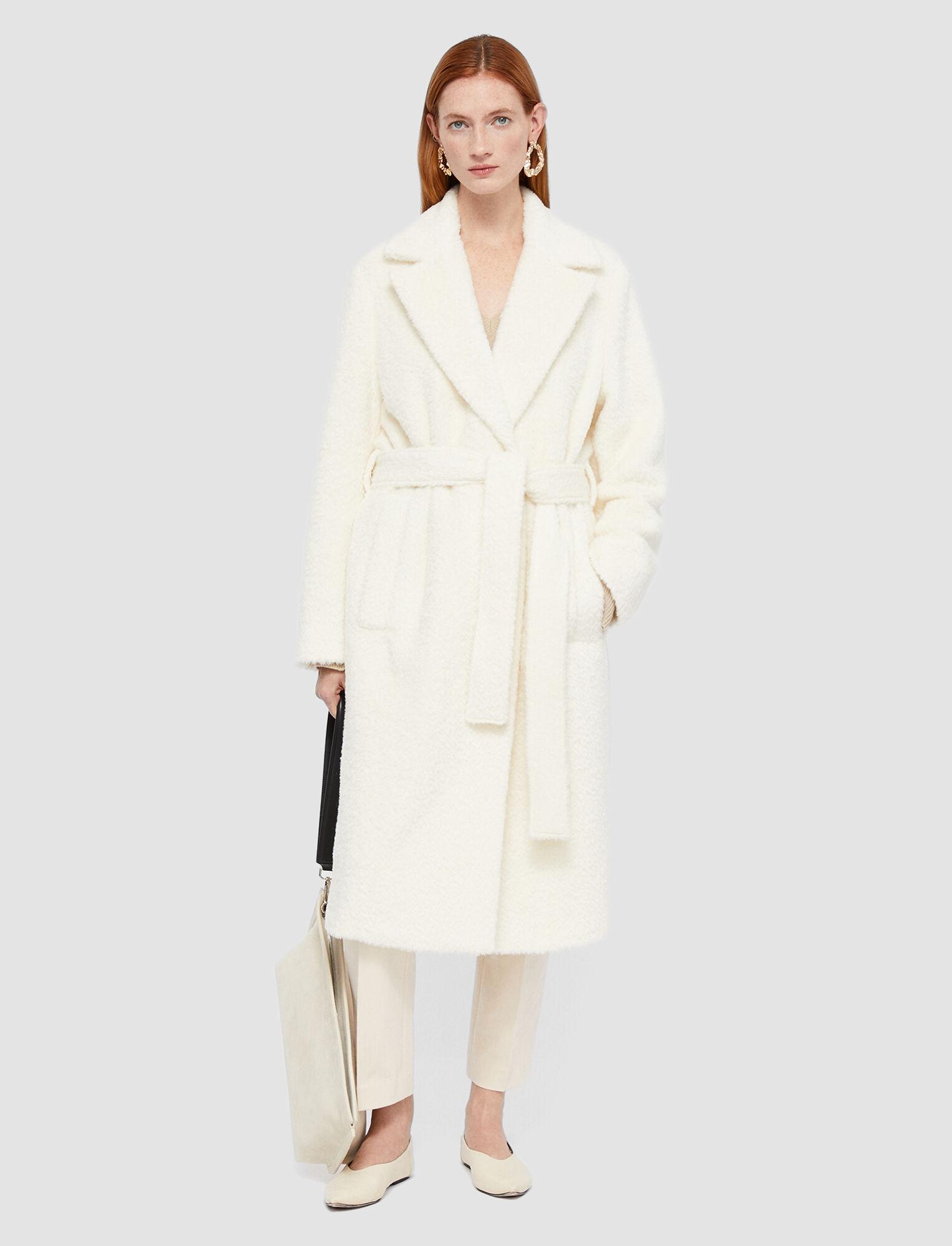 Joseph, Textured Wool Alpaca Cayla Coat, in Ecru