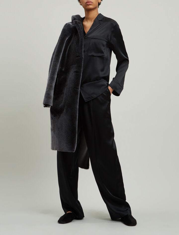 Joseph, Riska Silk Satin Trousers, in BLACK