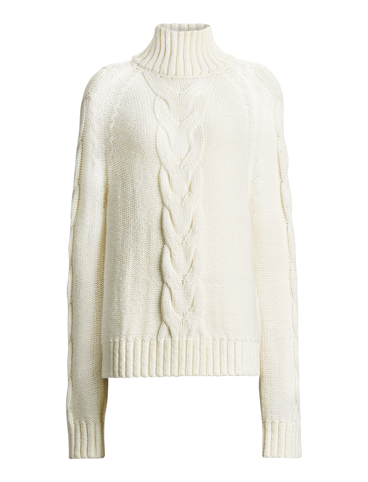 Joseph, High Neck Chunky Cable Knit Sweater, in ECRU