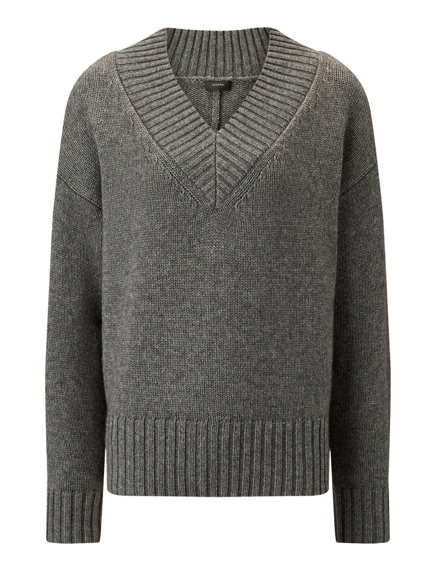 Joseph, V Neck Wool Cashmere Knit, in DARK GREY