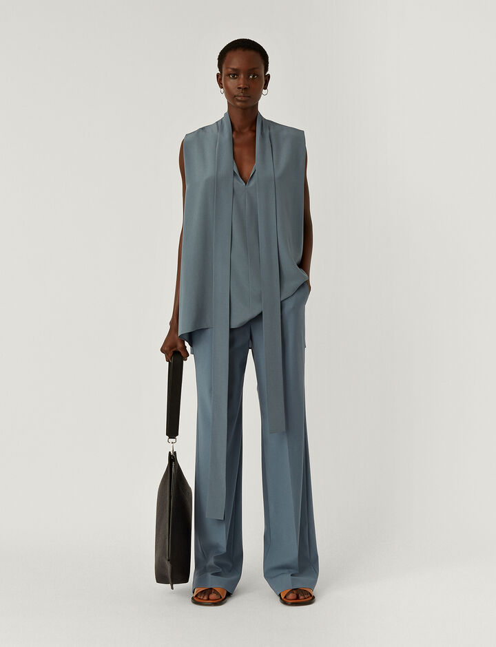 Joseph, New Crepe de Chine Batin Top, in BLUE STEEL