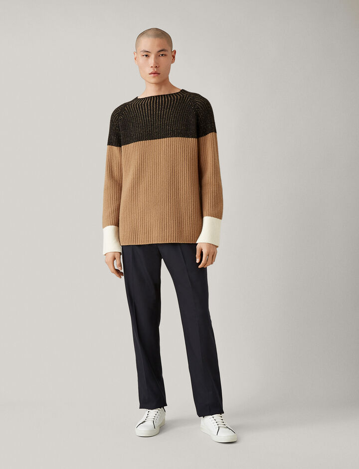 Joseph, Soft Wool Block Knit, in BLACK COMBO
