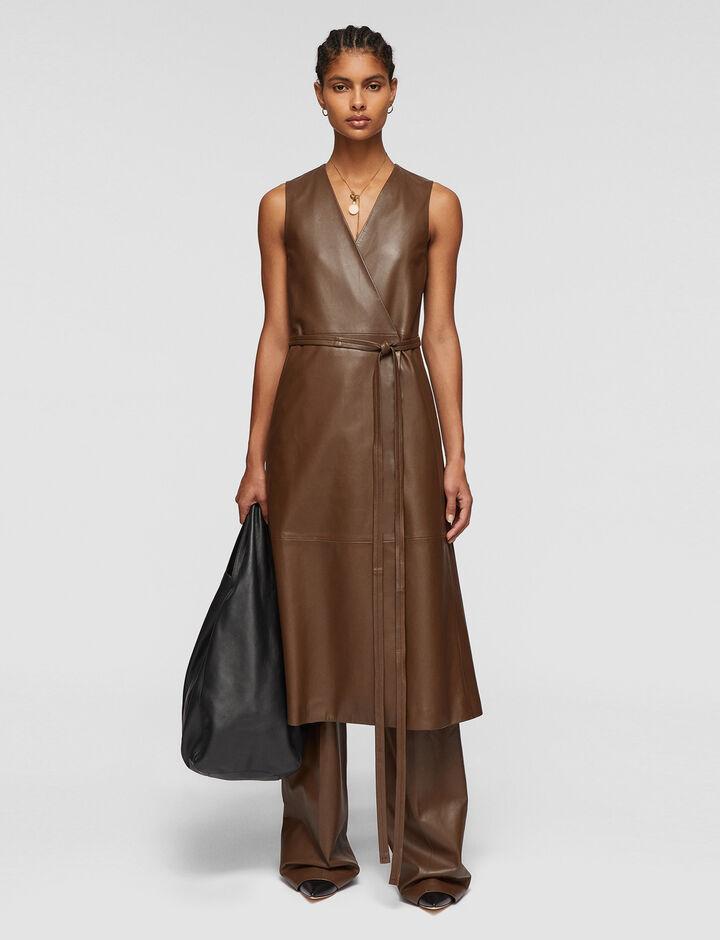 Joseph, Nappa Leather Dibo Dress, in PINECONE