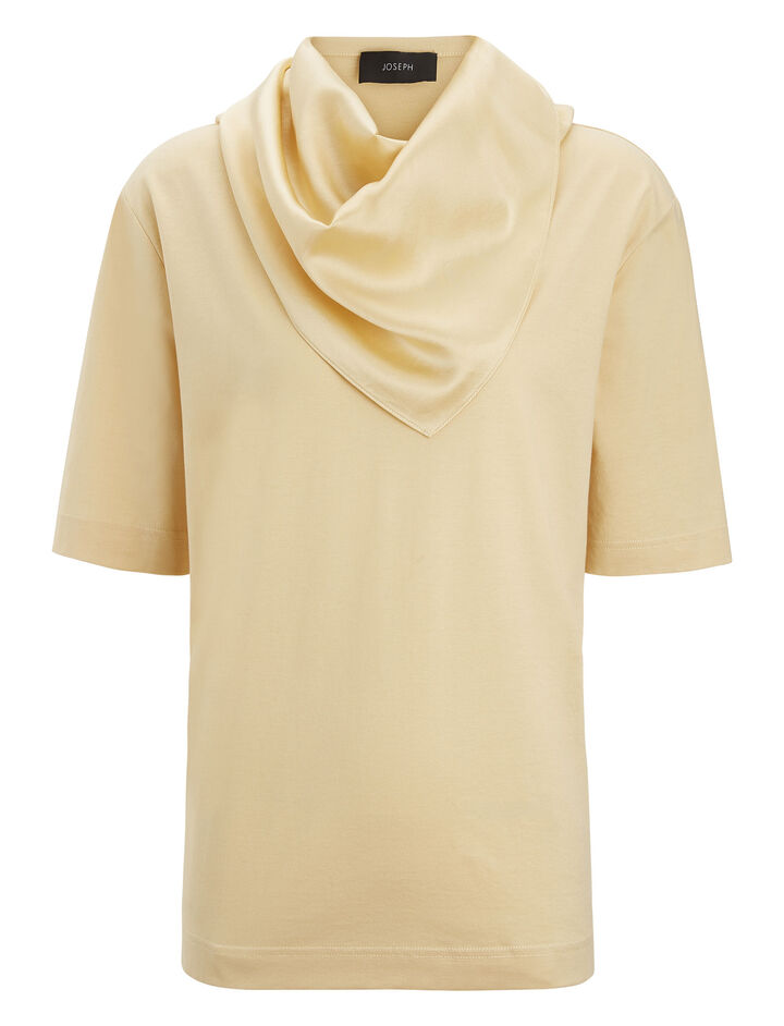 Joseph, Silk Satin Jersey Scarf Tee, in BUTTER