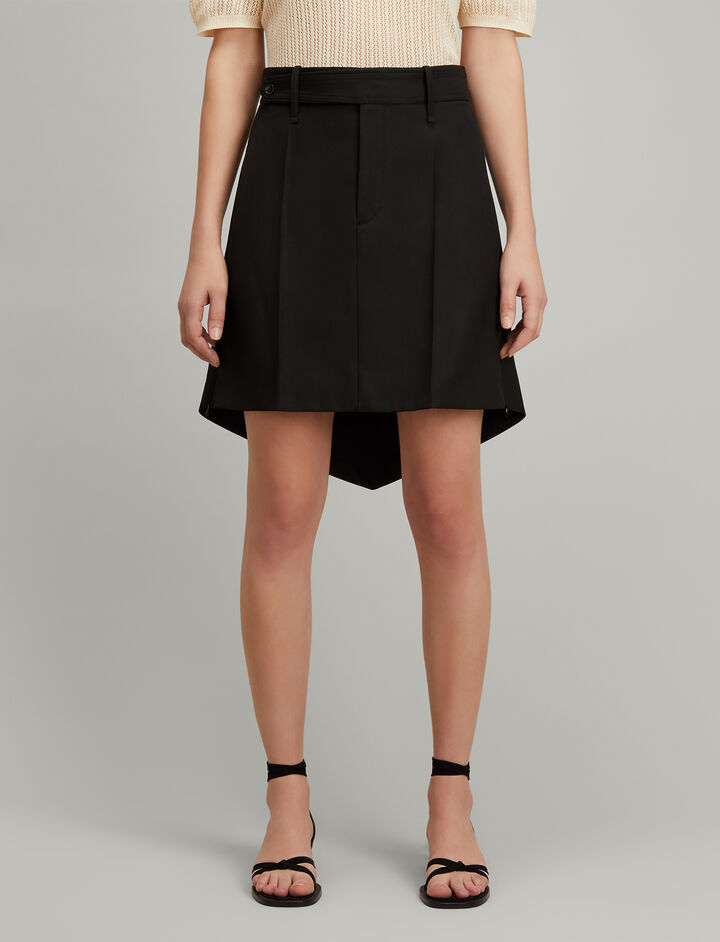 Joseph, Canvas Wool Archer Skirt, in BLACK