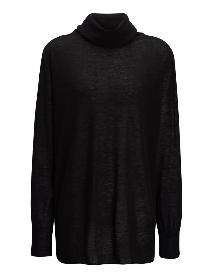 Joseph, Cashair High Neck Oversized Sweater, in BLACK