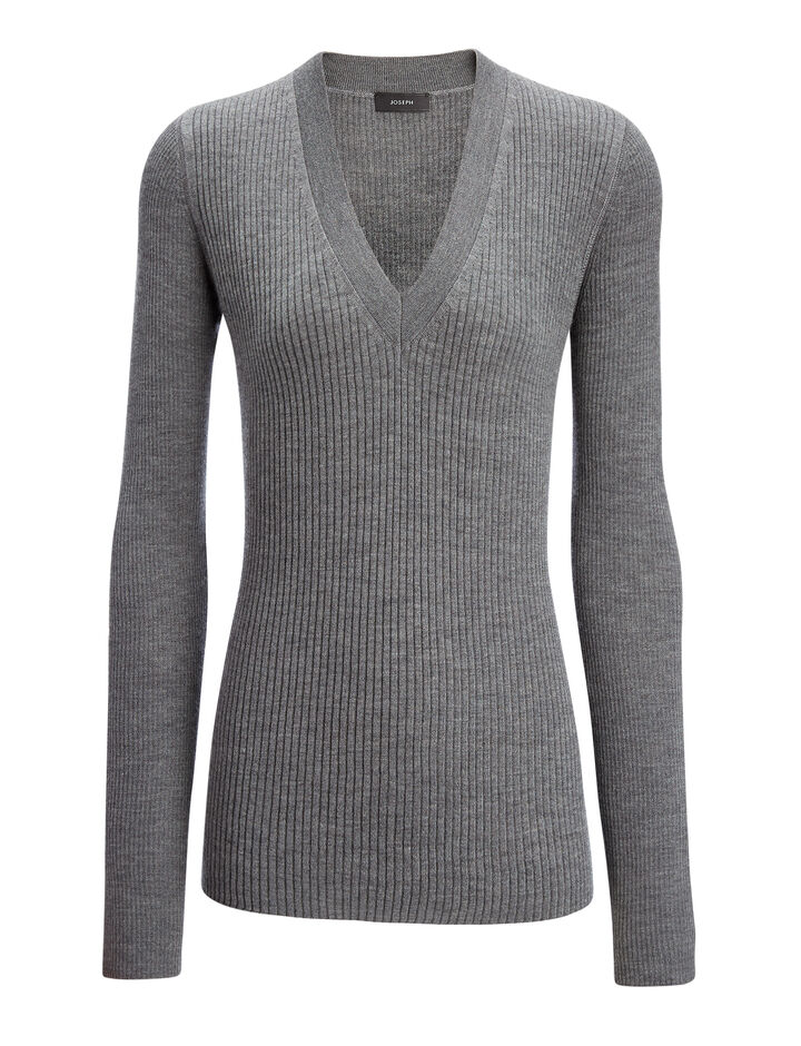 Joseph, Wool Silk Cashmere Rib V Neck Top, in GRAPHITE