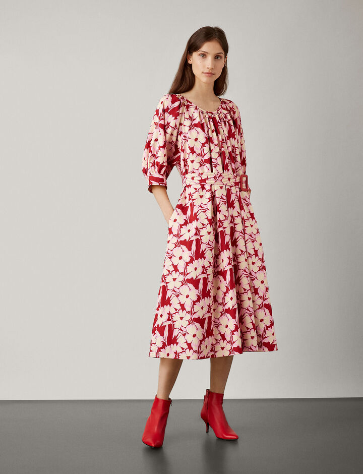 Joseph, Shan Cotton Print Dress, in CRIMSON
