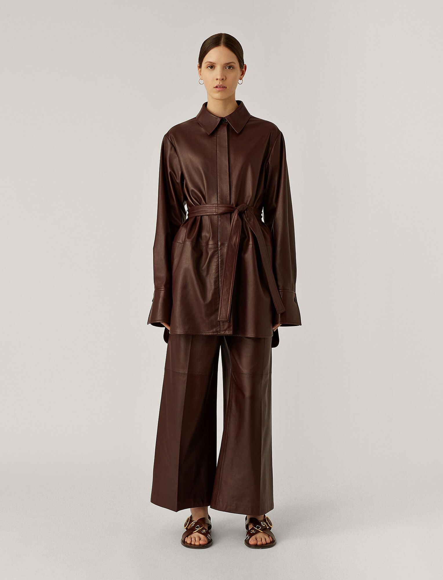 Joseph, Jason Nappa Leather Outer, in Ganache