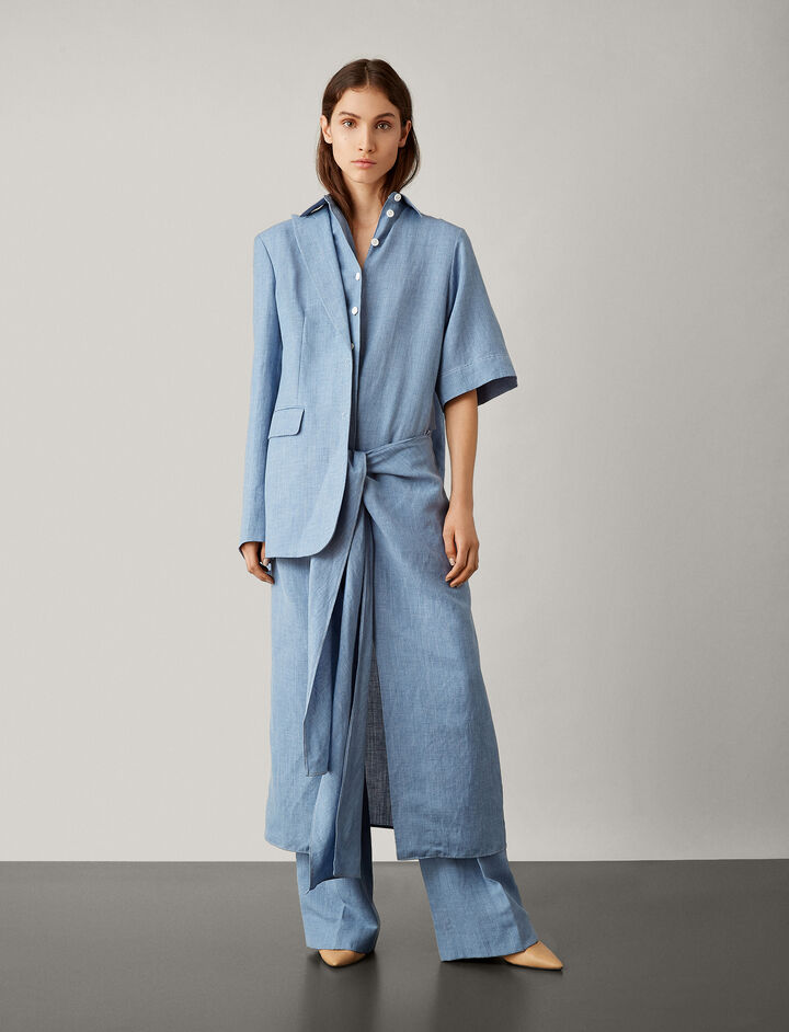 Joseph, Cooper Linen Silk Tailoring Dress, in AZURE