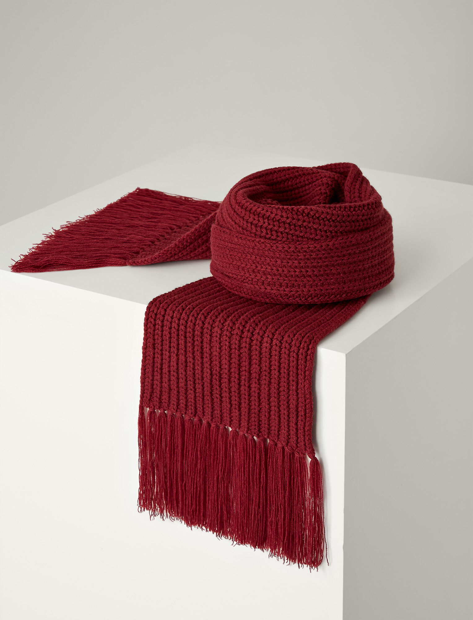 Joseph, Soft Wool Scarf, in GARNET