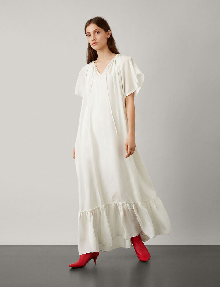 Joseph, Eva Paper Silk Dress, in WHITE