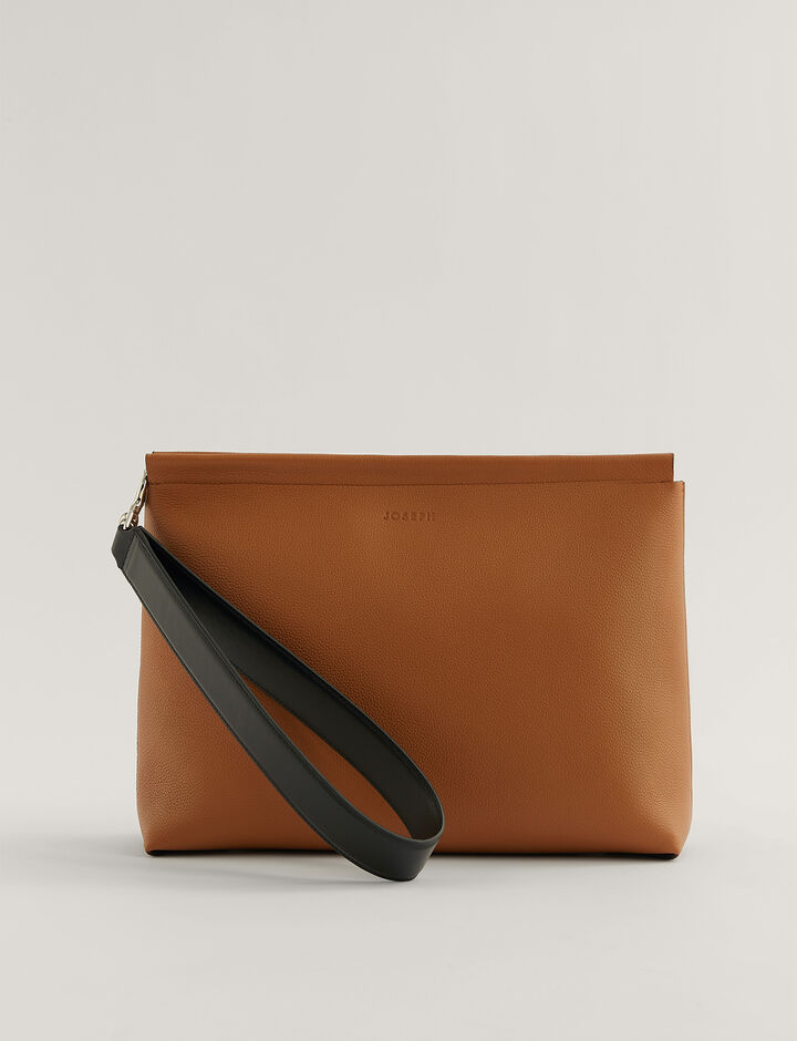 Joseph, Clutch Grain Leather Clutch Bag, in Cognac
