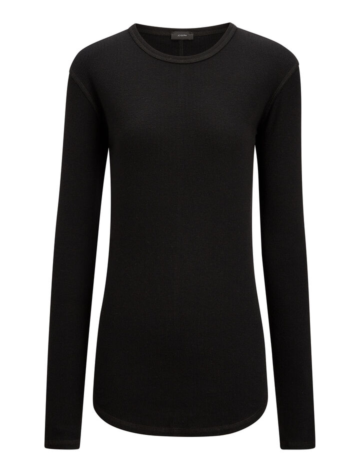 Joseph, Rib Jersey Top, in BLACK