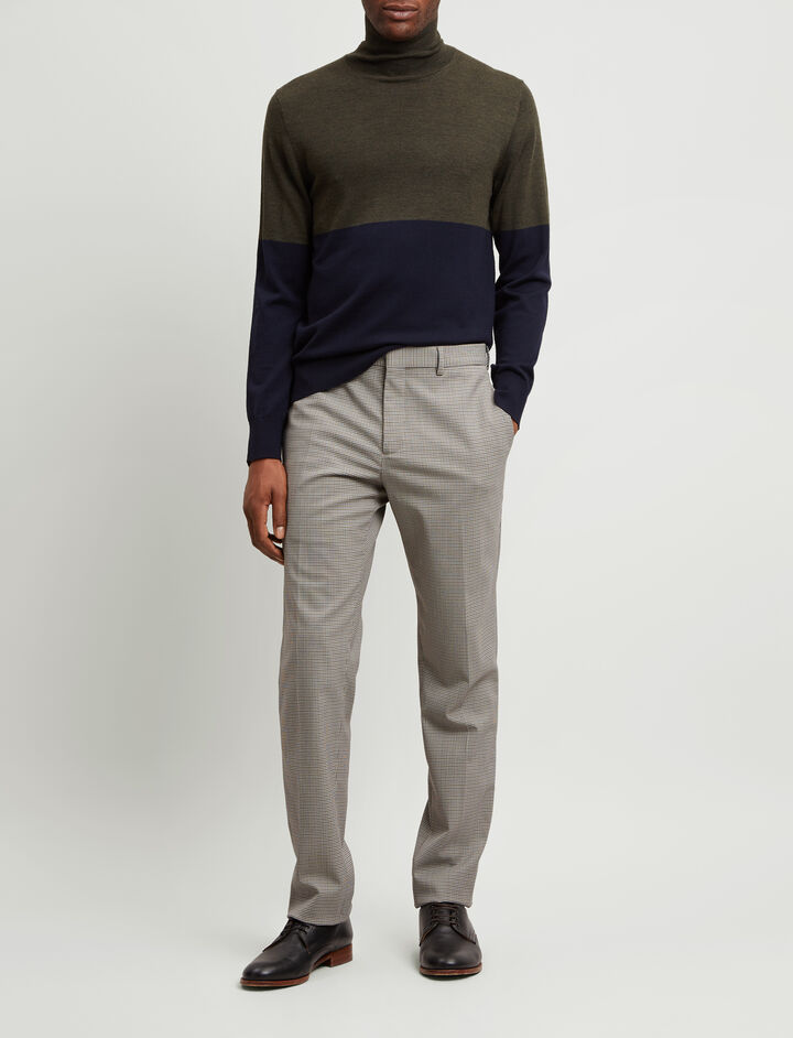 Joseph, Jack Mini Dogtooth Suiting Trousers, in CAMEL