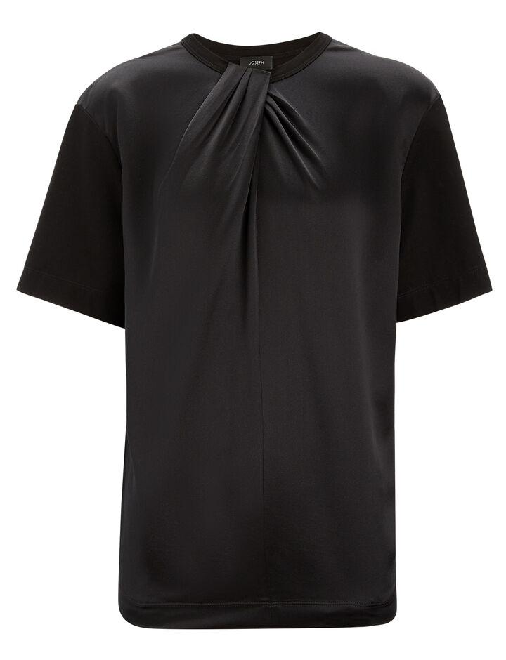 Joseph, Wrap + Silk Satin Jersey Tee, in BLACK