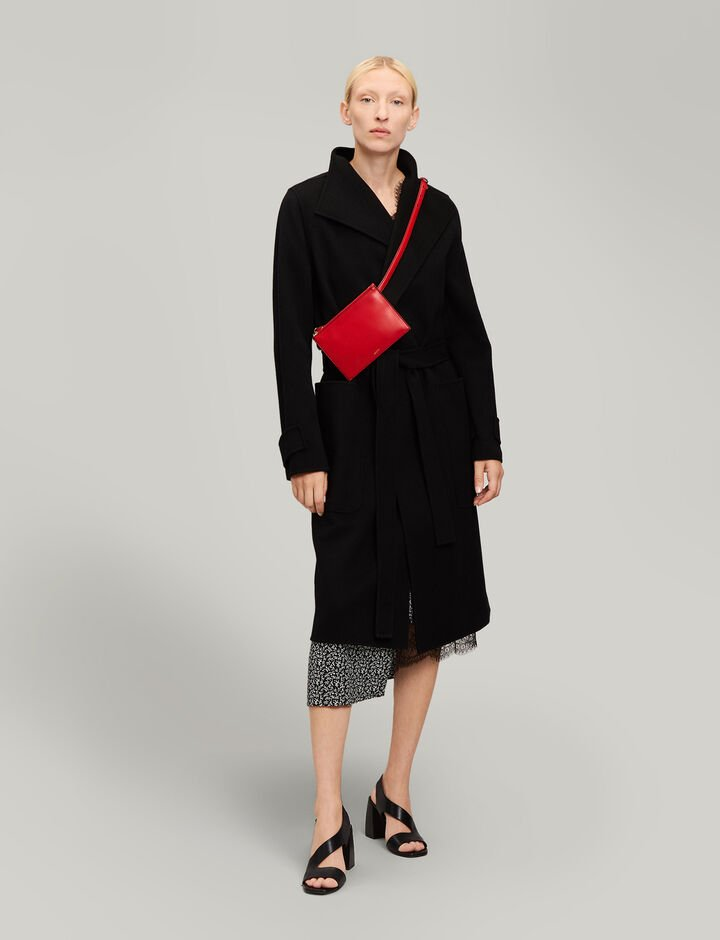 Joseph, Lista Double Wool Gloss Coat, in BLACK