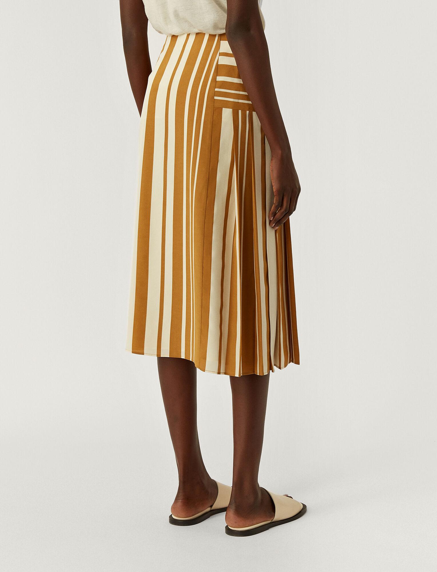 Joseph, Silk Stripes Swanson Skirt, in GREY/OCRE