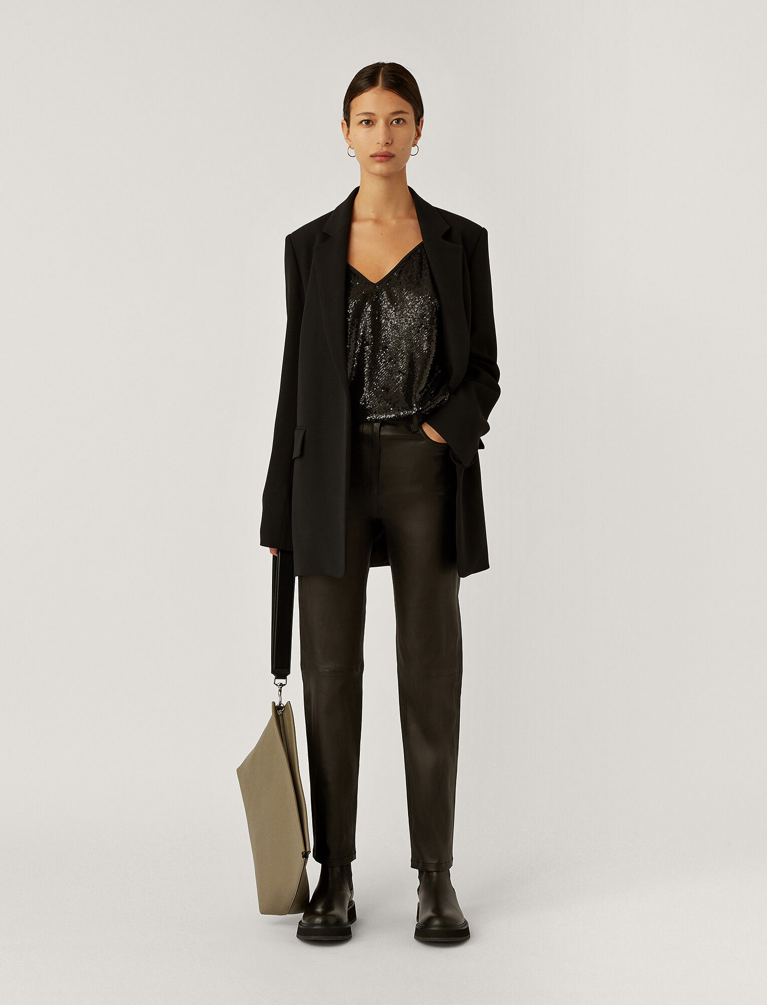 Joseph, Leather Stretch Teddy Trousers, in BLACK