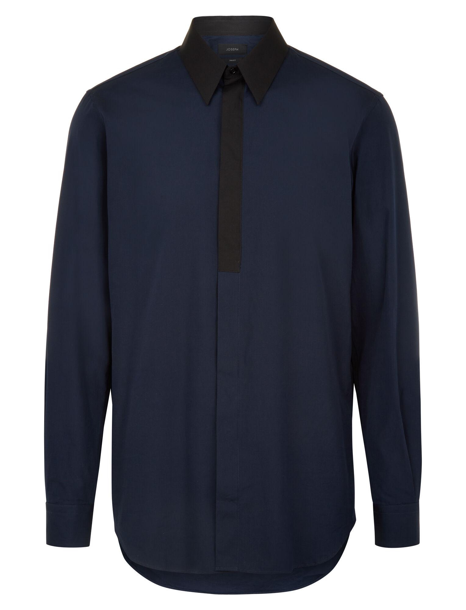 Joseph, Montecarlo Poplin + Ppln Stretch Shirt, in NAVY COMBO