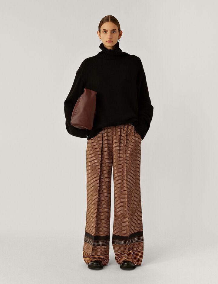 Joseph, Taffy Silk Plaid Trousers, in Saddle/Black