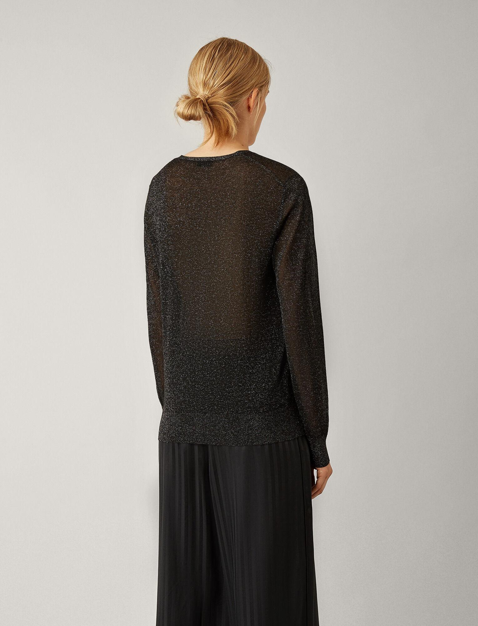 Joseph, V Neck Lurex Knit, in BLACK