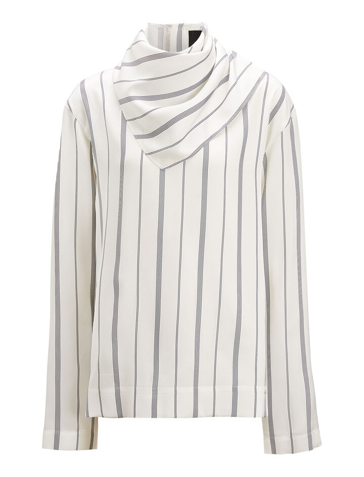 Joseph, Cannon Lining Stripe Blouse, in WHITE
