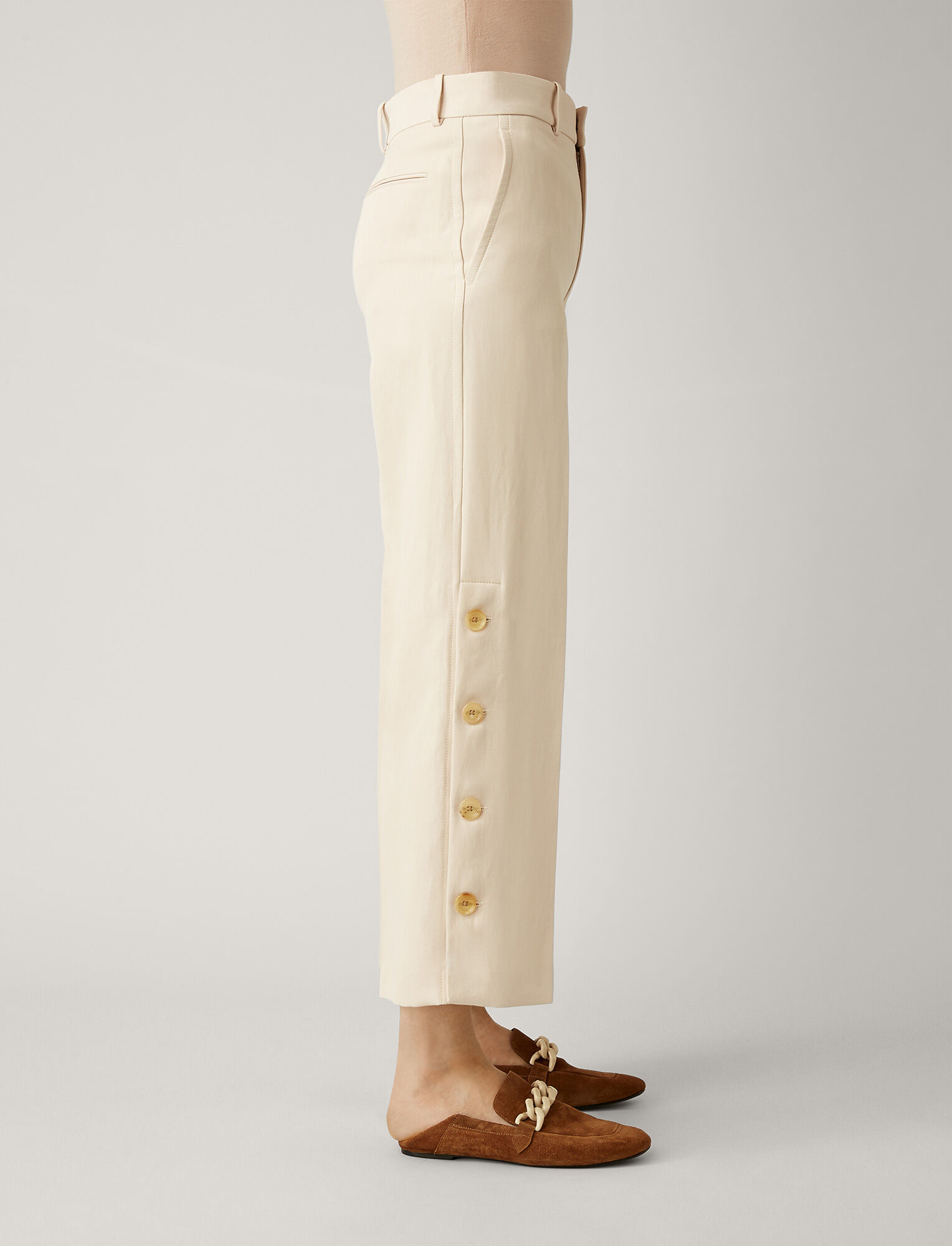 Joseph, Fade Ramie Cotton Trousers, in PEARL